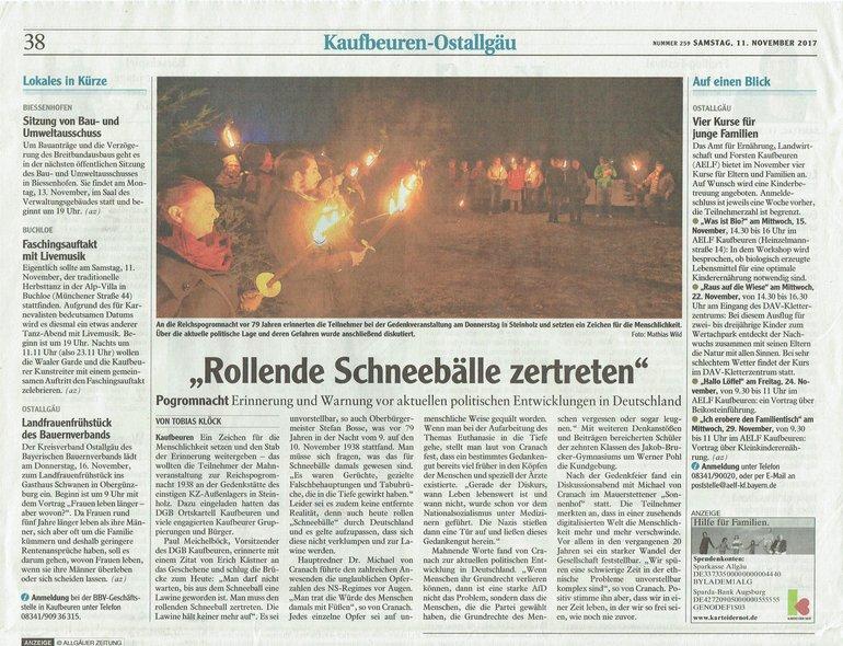 Allgäuer Zeitung vom 11.11.2017
