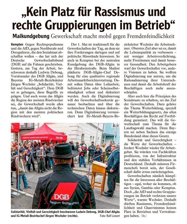 Allgäuer Zeitung vom 02.05.2018