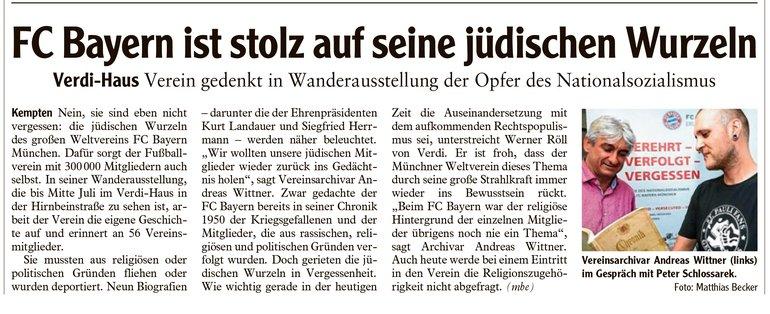 Allgäuer Zeitung vom 06.06.2018