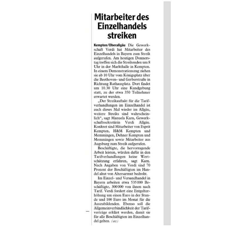 Allgäuer Zeitung vom 06.06.2019, Kemptener Teil