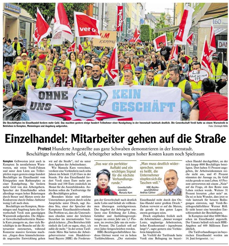Allgäuer Zeitung vom 07.06.2019, Kemptener Teil